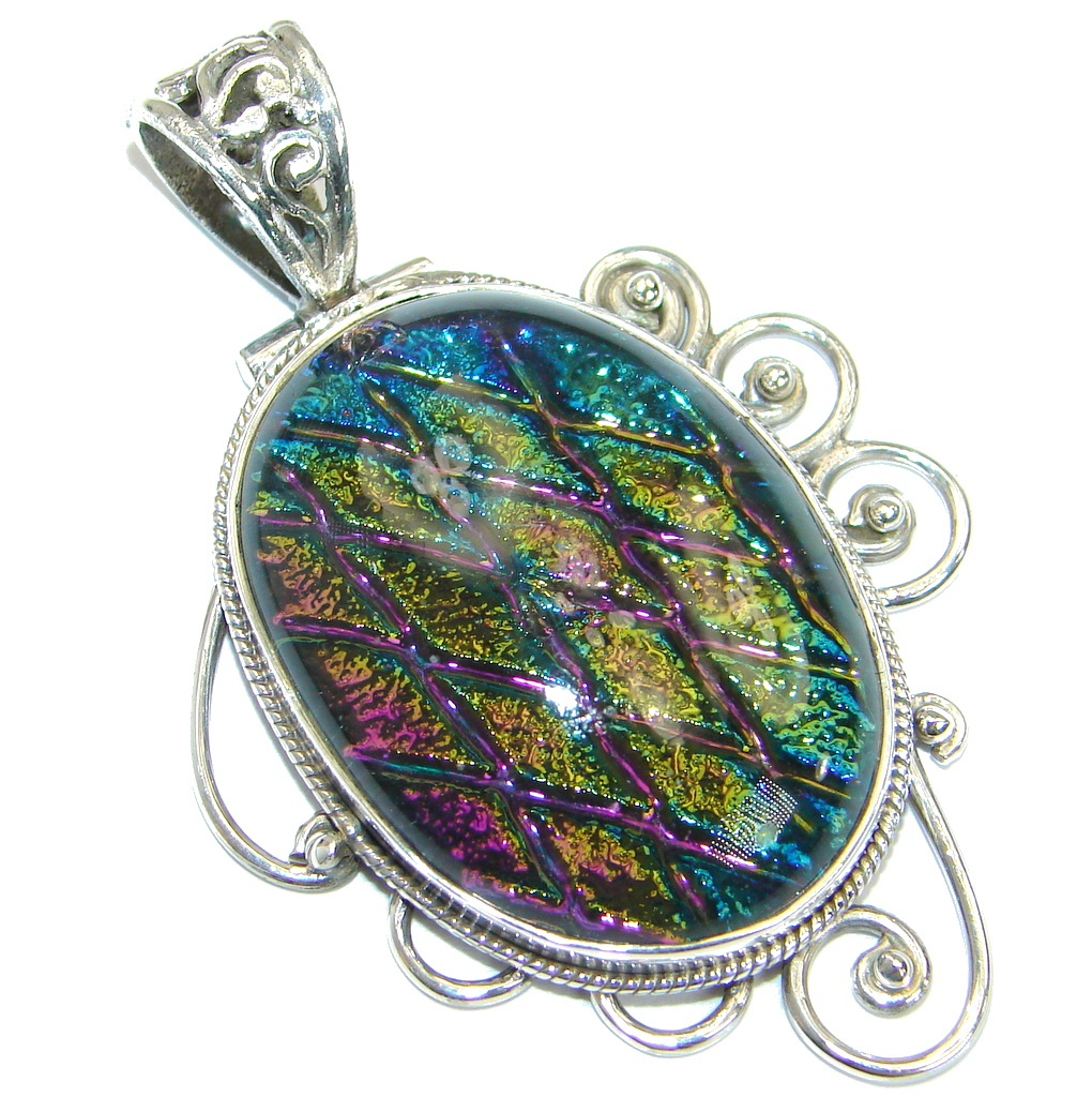 Huge Mexican Dichroic Glass 925 Sterling Silver Handmade