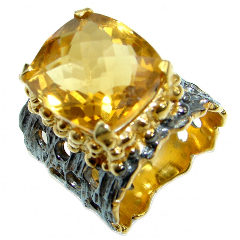 Huge Energy Authentic Citrine Gold over .925 Sterling Silver Cocktail Ring size 7