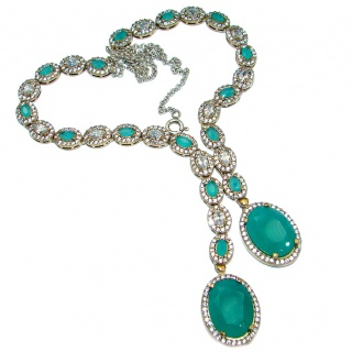Victorian Style created Green Emerald & White Topaz .925 Silver necklace