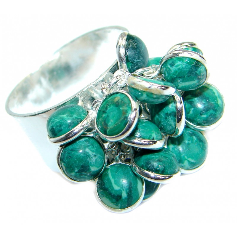 Huge Bold Malachite .925 Sterling Silver handmade ring s. 9 1/2