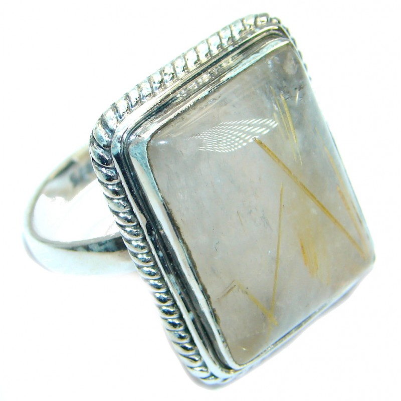 Golden Rutilated Quartz .925 Sterling Silver handcrafted Ring Size 8