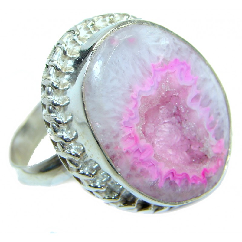 Exotic Druzy Agate .925 Silver Ring s. 8
