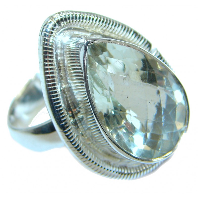 Simple Style Green Amethyst .925 Sterling Silver handmade Ring s. 12