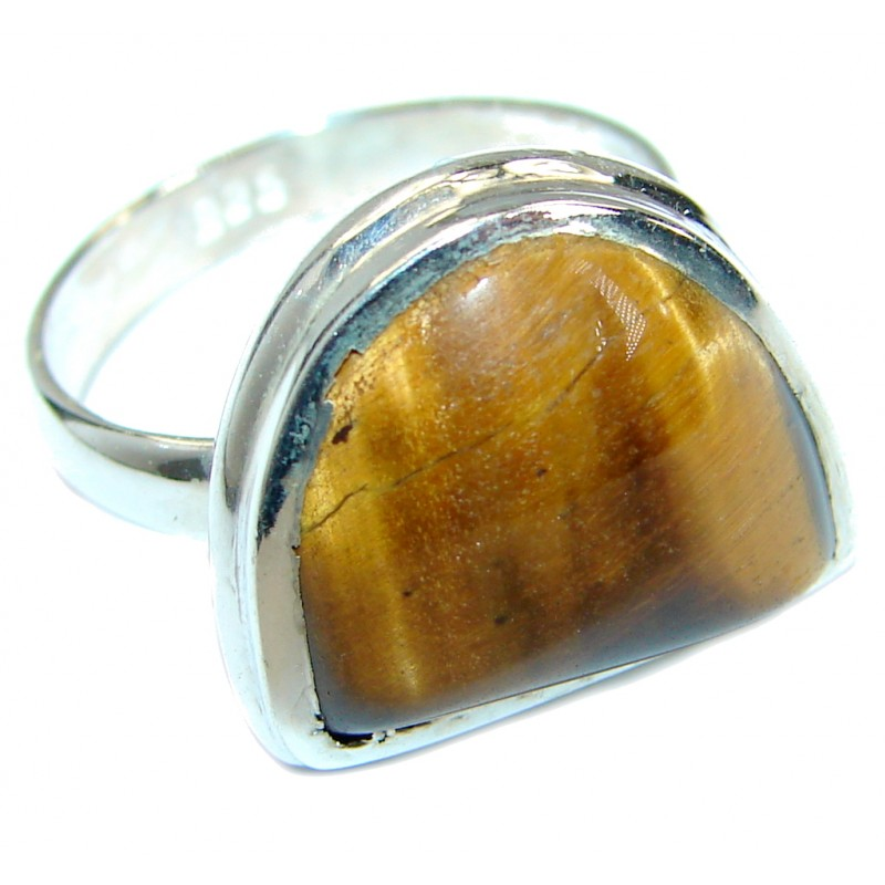 Golden Tigers Eye Sterling Silver ring s. 6
