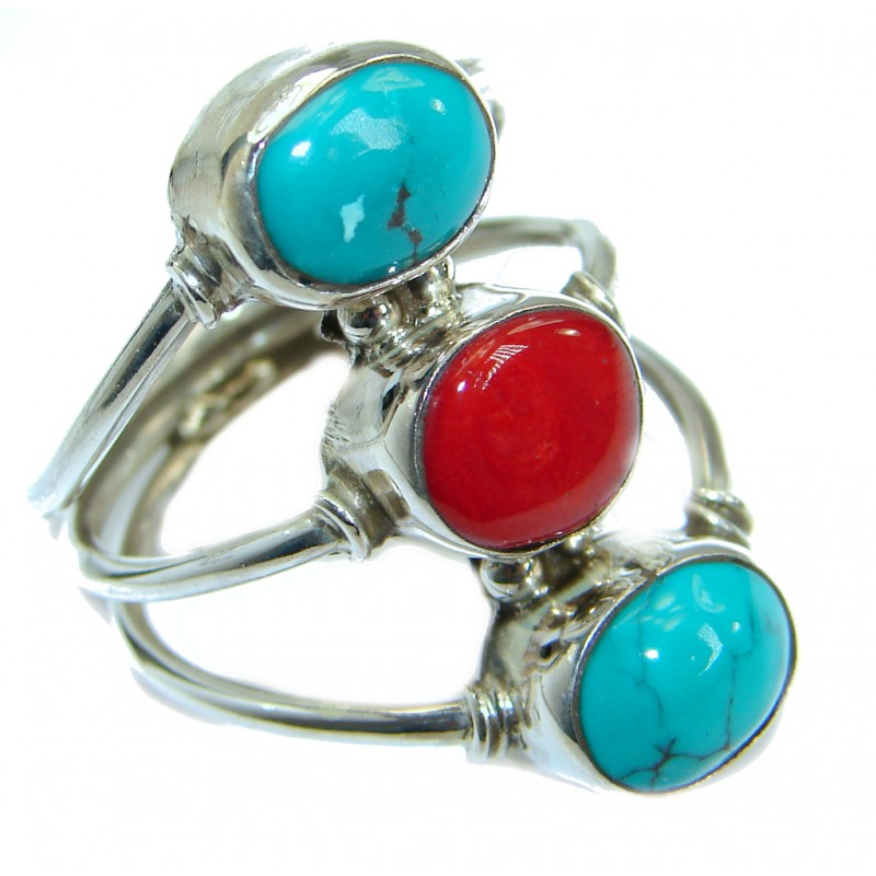 Gorgeous natural Fossilized Coral Sterling Silver handmade ring s. 10