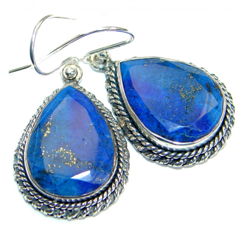 Perfect genuine Blue Lapis Lazuli .925 Sterling Silver handmade earrings