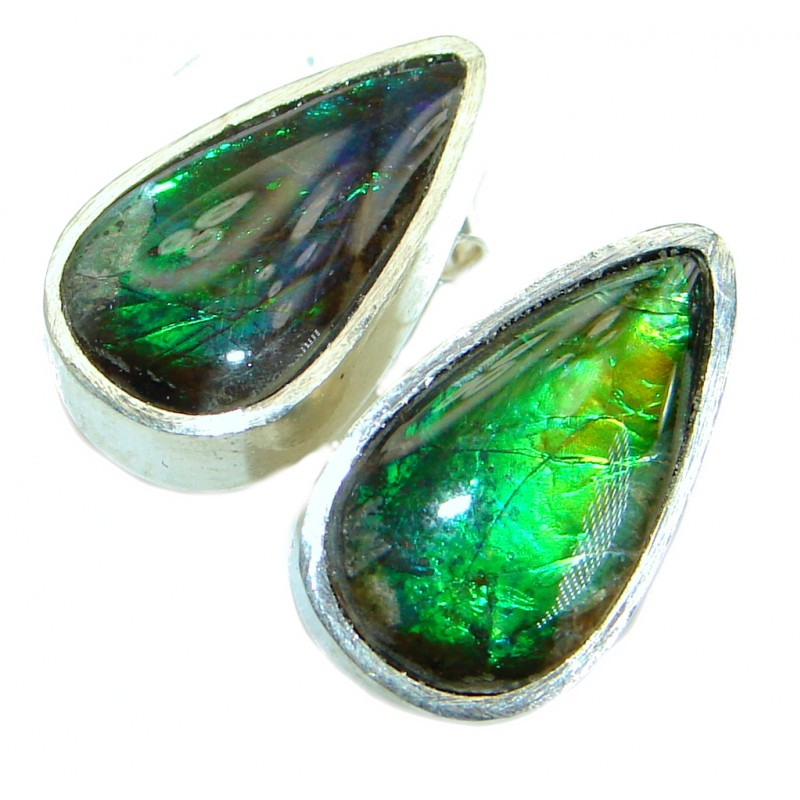 Green Aura Fire Ammolite .925 Sterling Silver handmade stud earrings