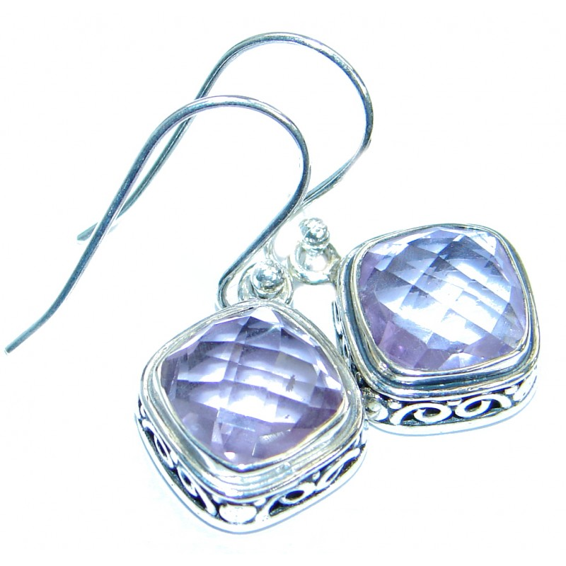 Perfect genuine Amethyst .925 Sterling Silver handmade earrings