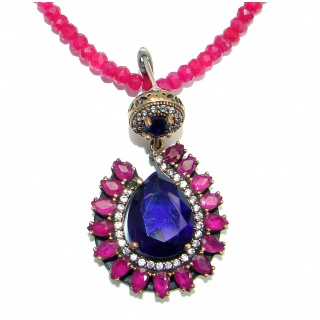 Victorian created Ruby Emerald & White Topaz .925 Sterling Silver necklace