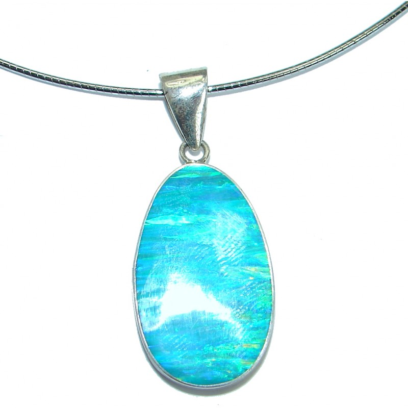 Large genuine Japanese Opal .925 Sterling Silver brilliantly handcrafted necklace