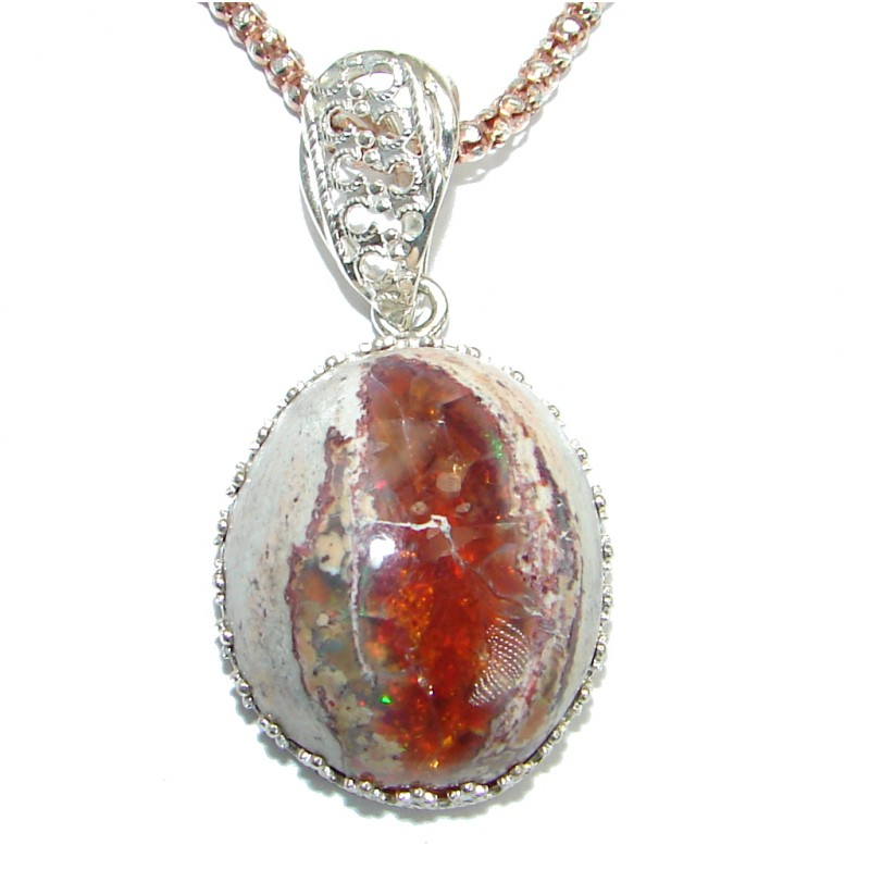 Sweet Heart Mexican Fire Opal Garnet Gold over .925 Sterling Silver handmade Necklace
