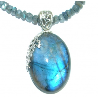 Authentic Fire Labradorite oxidized .925 Sterling Silver entirely handcrafted necklace
