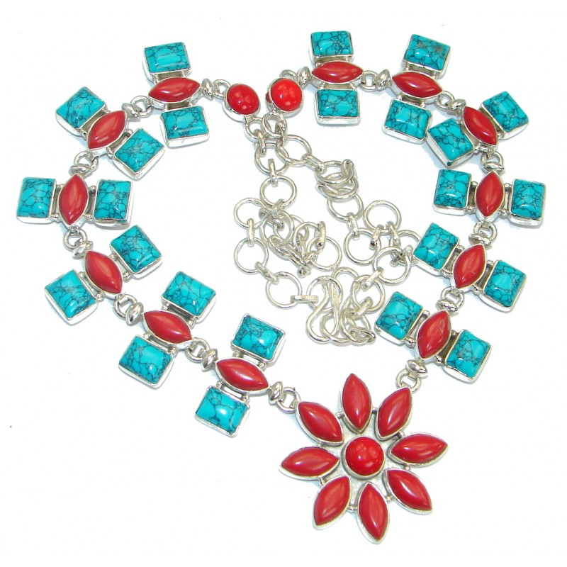 Chic Boho Style Turquoise Coral .925 Sterling Silver statement necklace