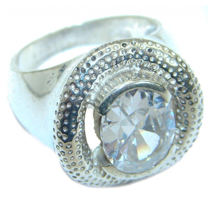 White Topaz .925 Sterling Silver handmade Ring s. 7 1/2