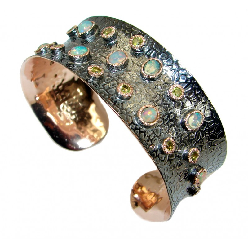 Sublime Ethiopian Opal Rose Gold Rhodium plated over .925 Sterling Silver Bracelet / Cuff