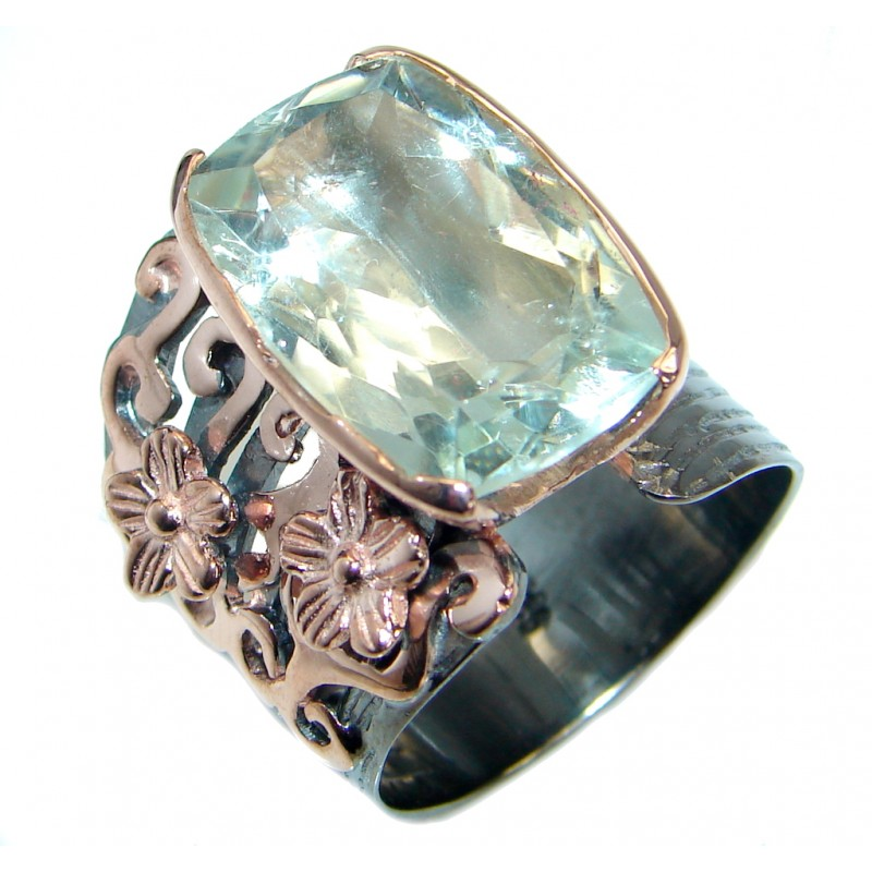 Vintage Style Green Amethyst 18 ct. Gold over .925 Sterling Silver handmade Cocktail Ring s. 10