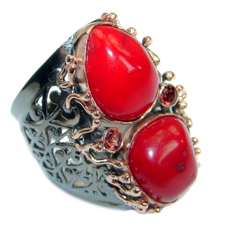 Gorgeous natural Fossilized Coral Gold over .925 Sterling Silver handmade ring s. 8 1/2