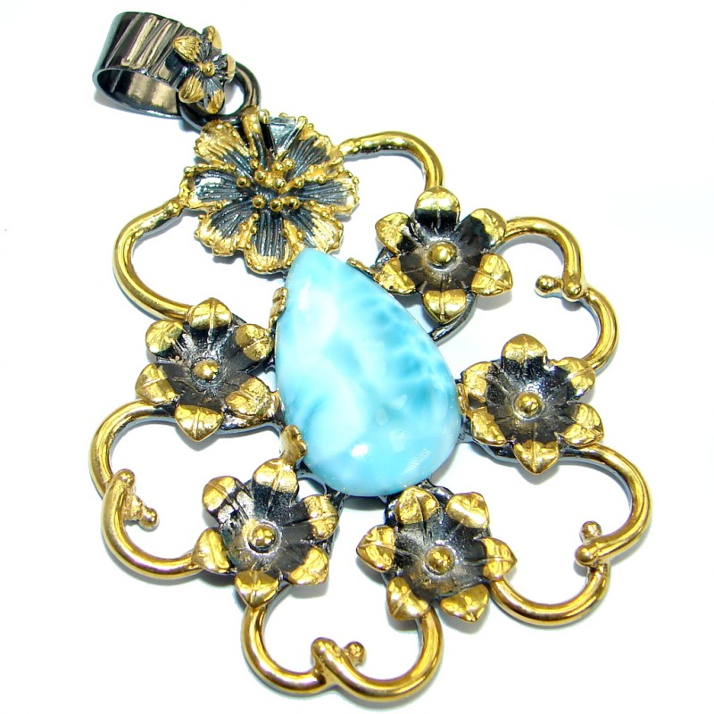 Genuine Larimar Gold over .925 Sterling Silver handmade pendant