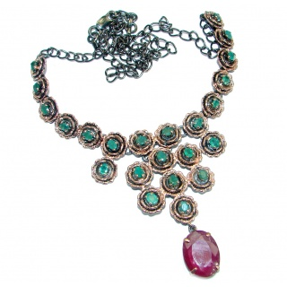 Victorian Style Natural Green Emerald & Ruby .925 Silver hancrafted necklace