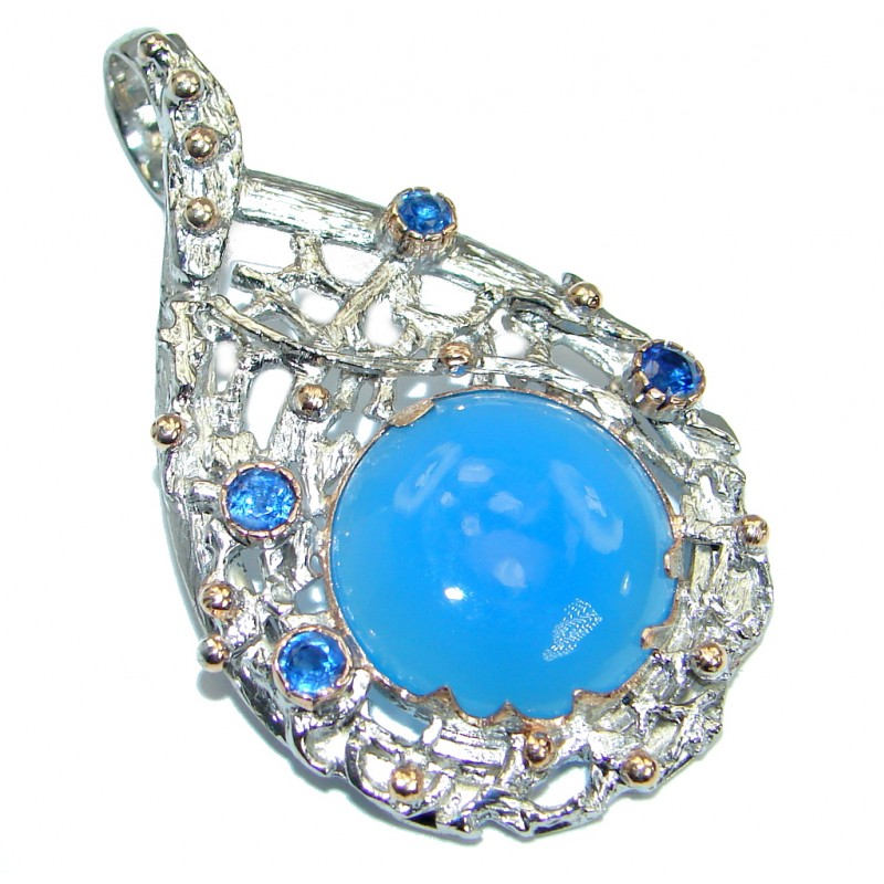 Blue Aura Chalcedony Agate Kynite .925 Sterling Silver handmade Pendant