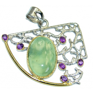 Natural Moss Prehnite Rose Gold Rhodium over .925 Sterling Silver handmade Pendant