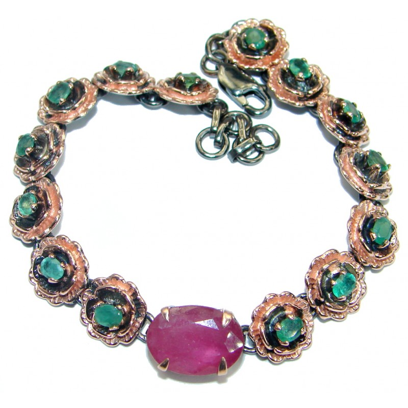 Floral Design genuine Ruby Emerald Gold over .925 Sterling Silver handcrafted Bracelet