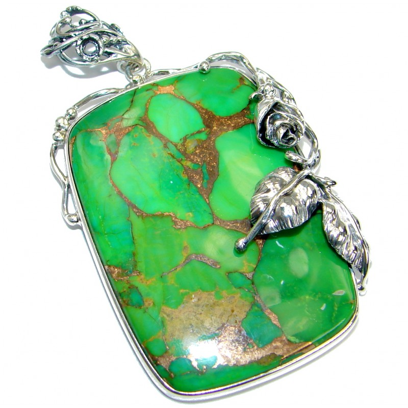 Huge Green Turquoise Copper .925 Sterling Silver habndmade Pendant