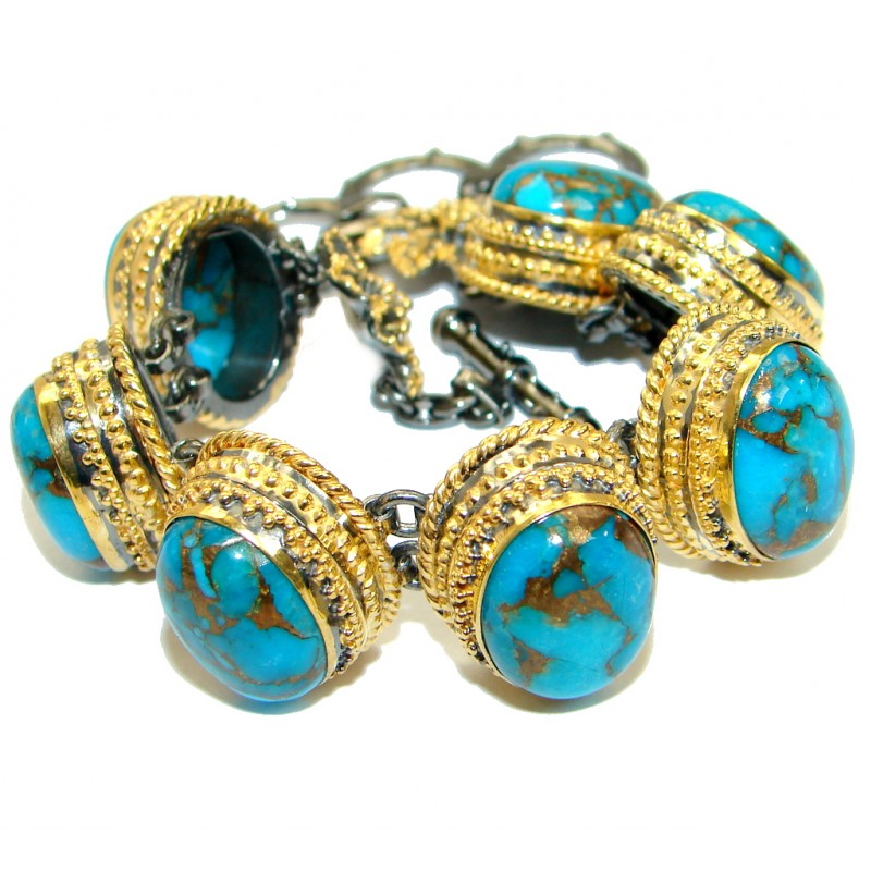 Large Blue Turquoise with copper vains .925 Sterling Silver handmade Bracelet