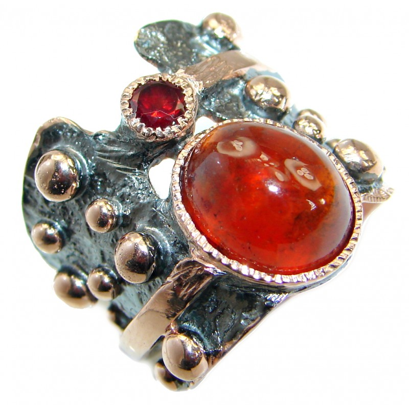 Genuine Hessonite Garnet Rose Gold over .925 Sterling Silver handmade Ring size 7