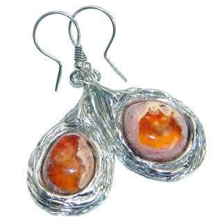Unique Mexican Fire Opal .925 Sterling Silver handmade earrings