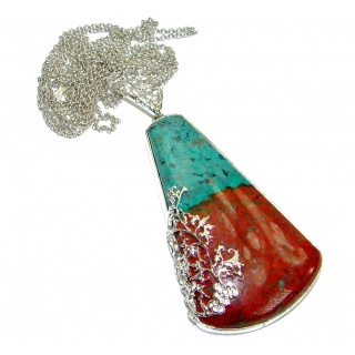 Massive natural Sunrise Sonora Jasper .925 Sterling Silver handmade Necklace