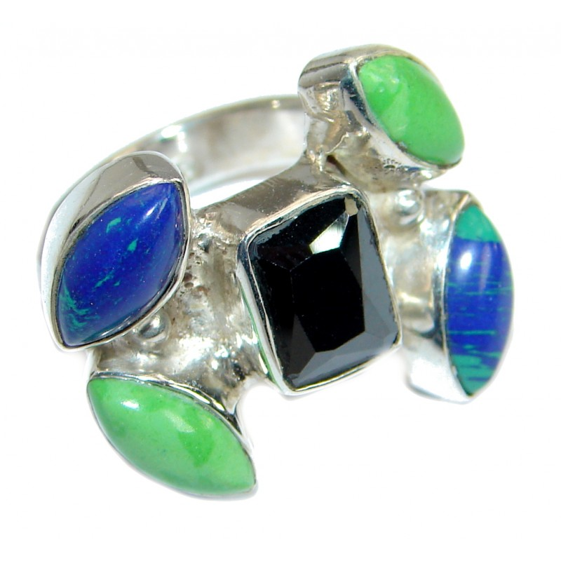 Colorful Multistone Sterling Silver Ring size 6 1/2