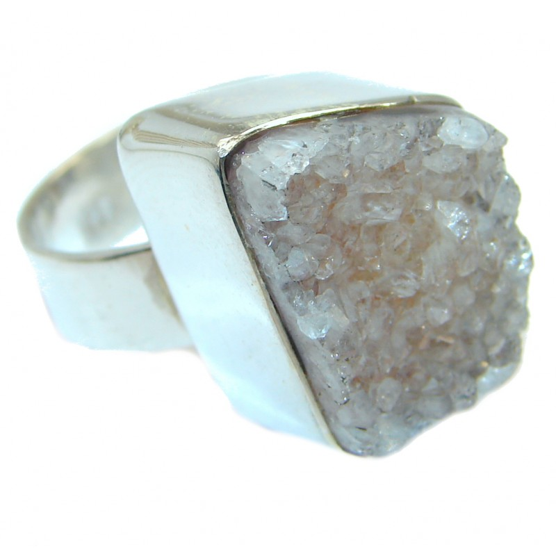 Druzy Agate Sterling Silver Ring size 7 1/2