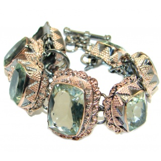 Rich Design Authentic Green Amethyst Gold over .925 Sterling Silver handmade Bracelet