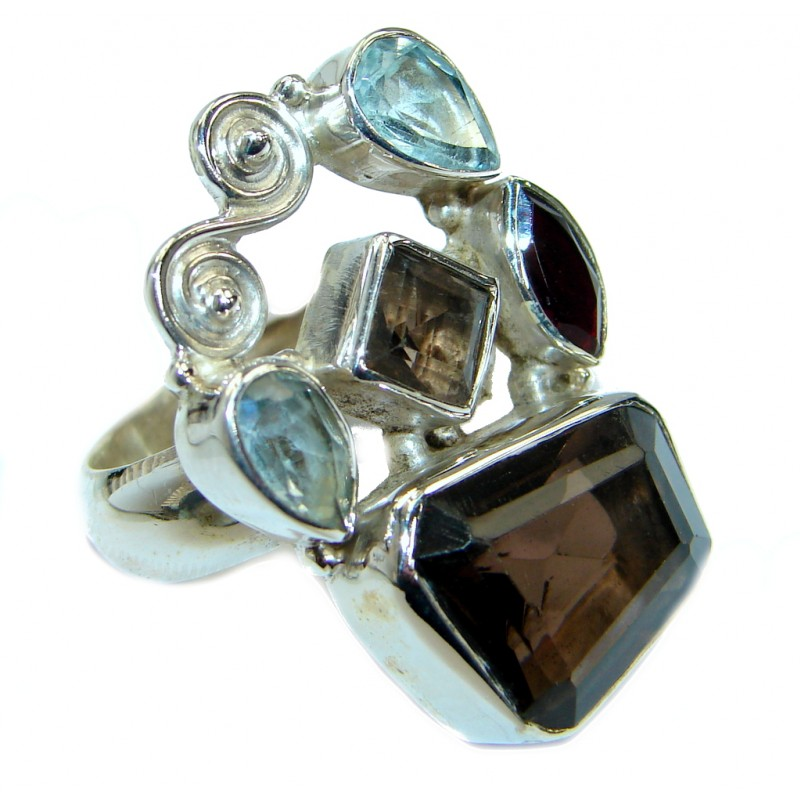 Huge Smoky Topaz .925 Sterling Silver Statement ring s. 6