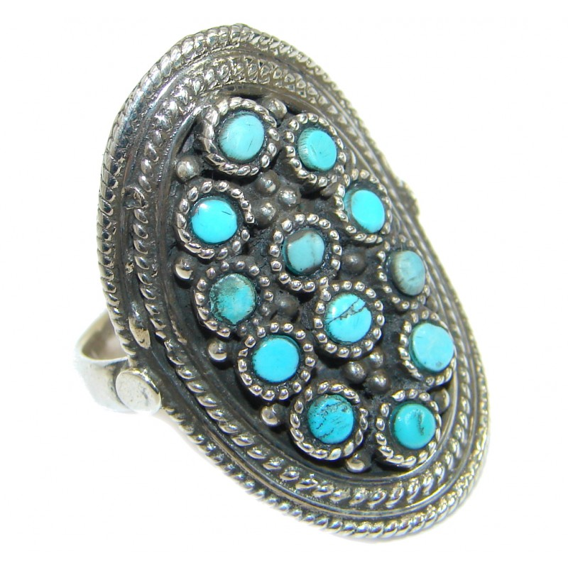 Vintage Style Turquoise .925 Sterling Silver handmade Ring size 9