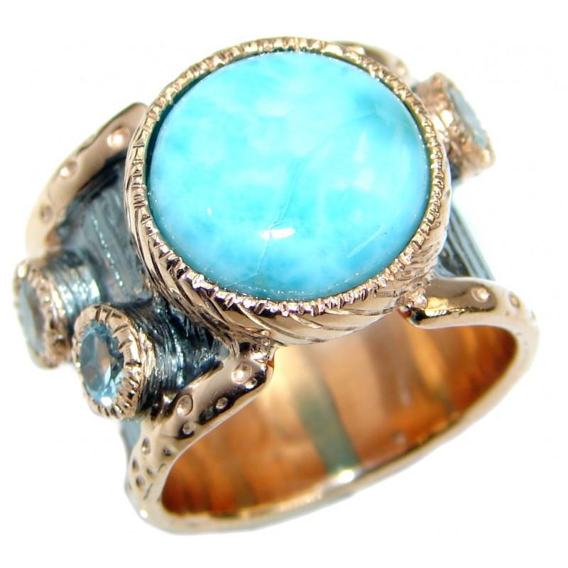 Genuine Larimar Rose Gold over .925 Sterling Silver handcrafted Ring s. 7 1/4