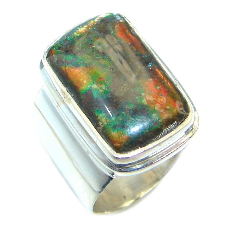 Pure Energy Fire Genuine Canadian Ammolite .925 Sterling Silver handmade wrap adjustable Ring