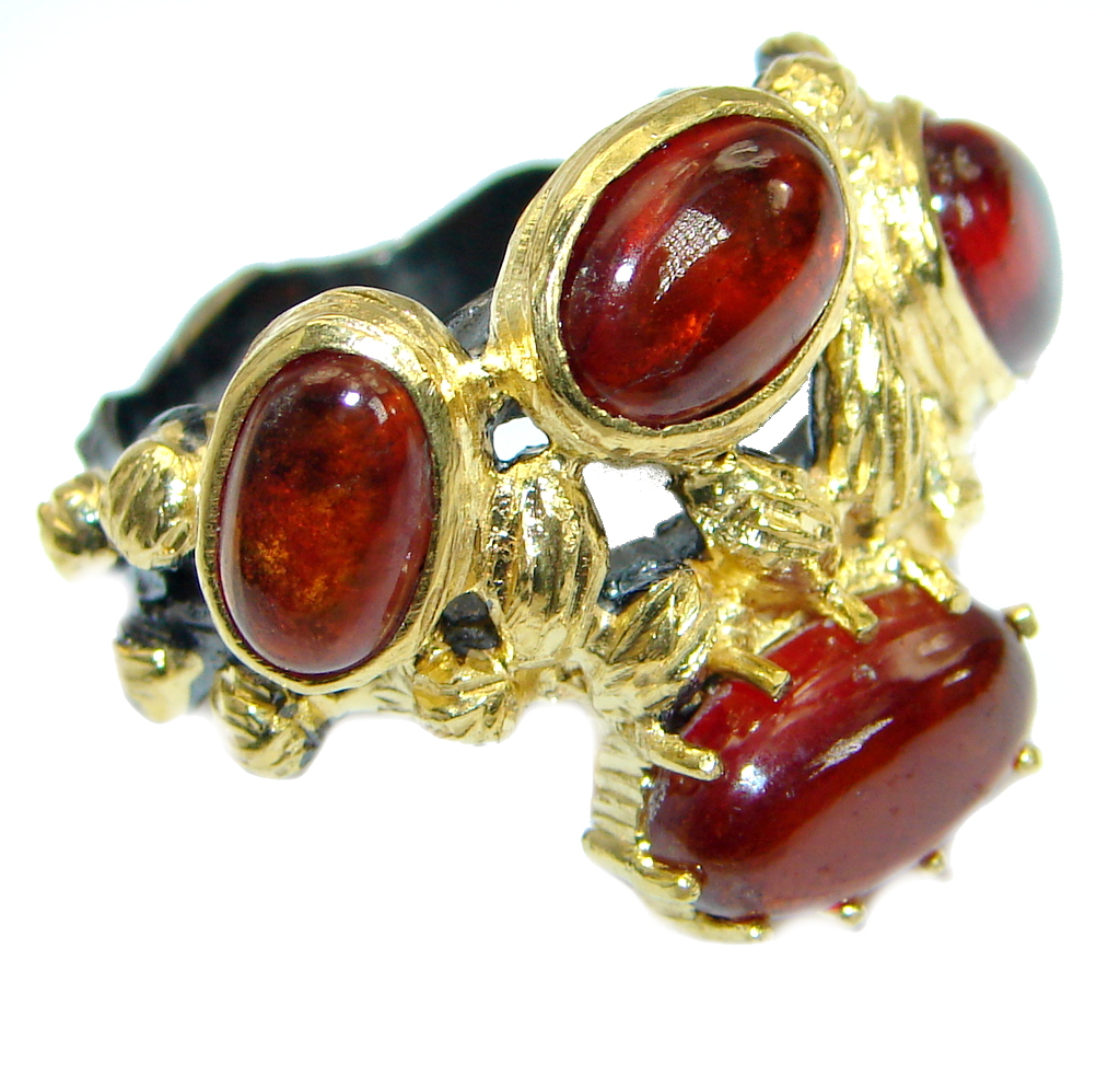 Genuine Hessonite Garnet 14K Gold over .925 Sterling ...