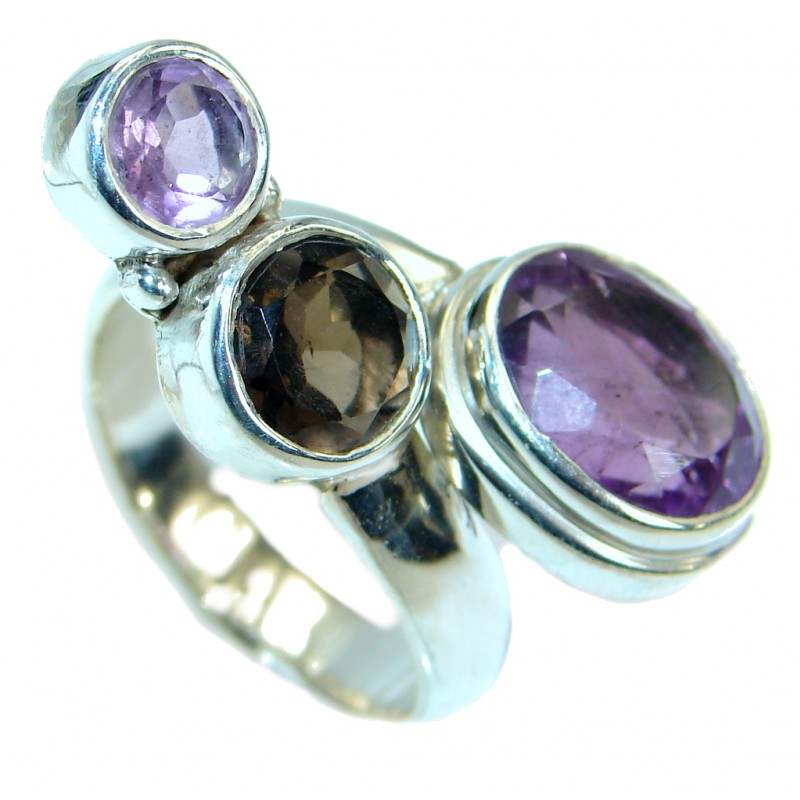 Authentic Smoky Quartz Amethyst .925 Sterling Silver handmade Ring size 8 1/2