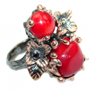 Gorgeous natural Fossilized Coral Gold over .925 Sterling Silver handmade ring s. 8 1/4