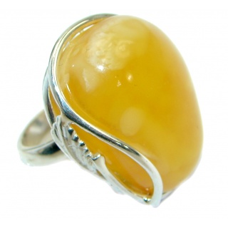 Genuine Butterscotch Baltic Polish Amber .925 Sterling Silver handmade Ring size 7 adjustable
