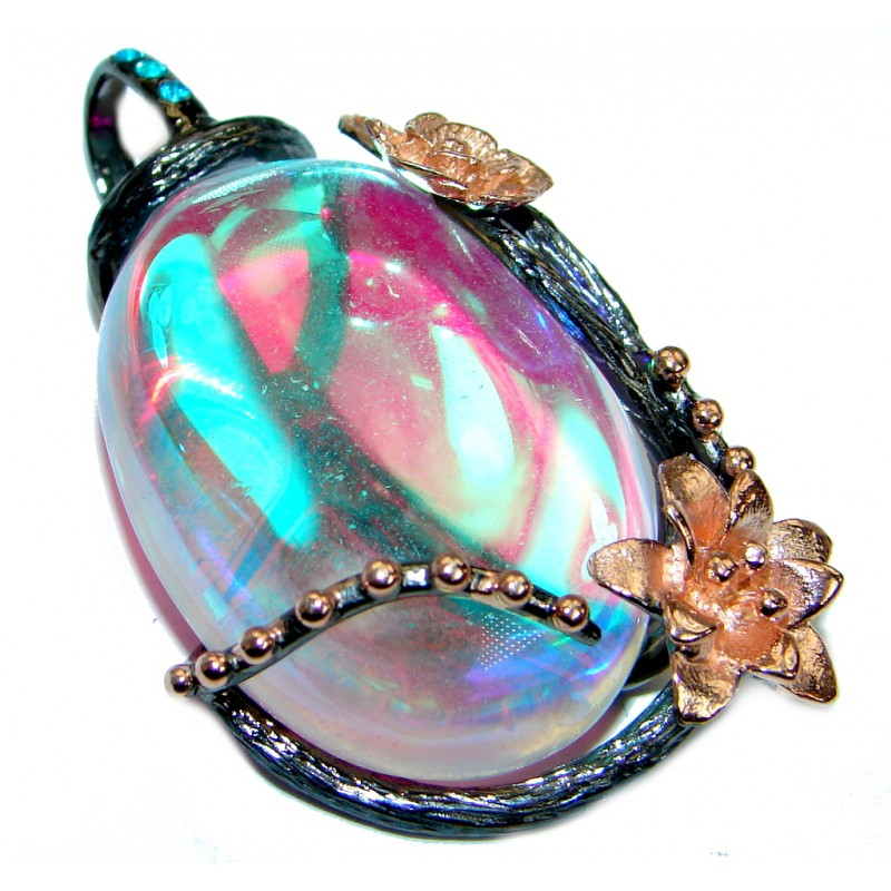Amazing Rainbow Quartz Rose Gold over .925 Sterling Silver Pendant