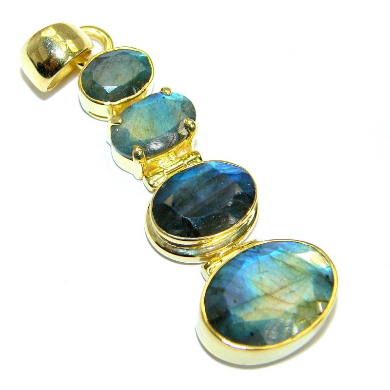 Fancy Design Labradorite Gold plated over .925 Sterling Silver handmade Pendant