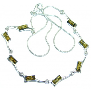Natural Beauty Polish Amber .925 Sterling Silver handmade necklace