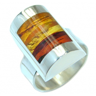 Genuine Baltic Amber .925 Sterling Silver handmade Statment Ring size 7 adjustable
