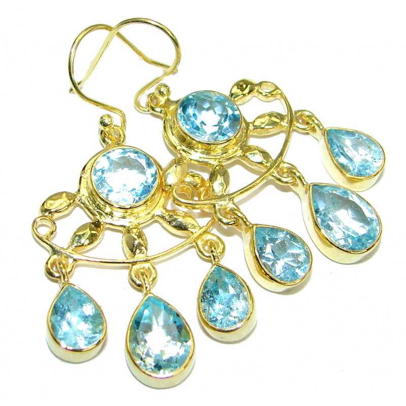 Great genuine Swiss Blue Topaz Gold plated over .925 Sterling Silver earrings