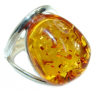 Luxury Genuine Baltic Polish Amber .925 Sterling Silver Ring size 7 adjustable