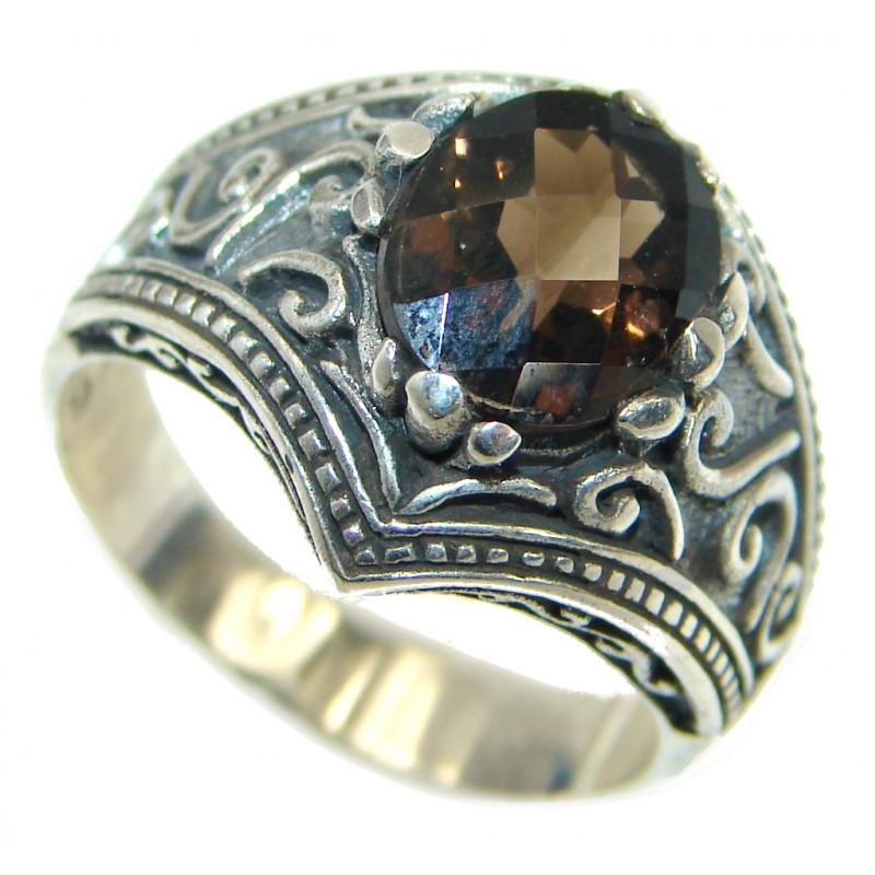 Smoky Topaz .925 Sterling Silver Statement ring s. 8 3/4