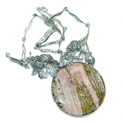 One of the kind pink Ocean Jasper .925 Sterling Silver handcrafted necklace